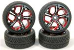 "EZRL3040 SET GOMME """"WET"""" 1:10 26mm + CERCHI DEVIL(4)"